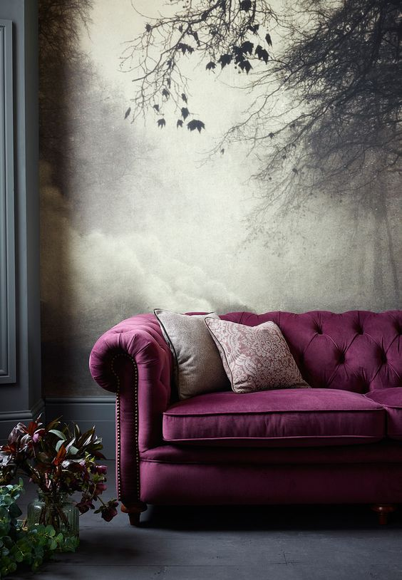 Purple Sofas under Dark Color as Living Room Interior Design Inspiration To Your House Ideas