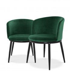 Komplet zielonych krzeseł Eichholtz Filmore Emerald Setx2 57x57x47,5 cm