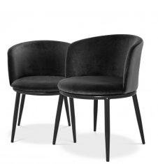 Komplet czarnych krzeseł Eichholtz Filmore Black Set x2 57x57x47,5 cm