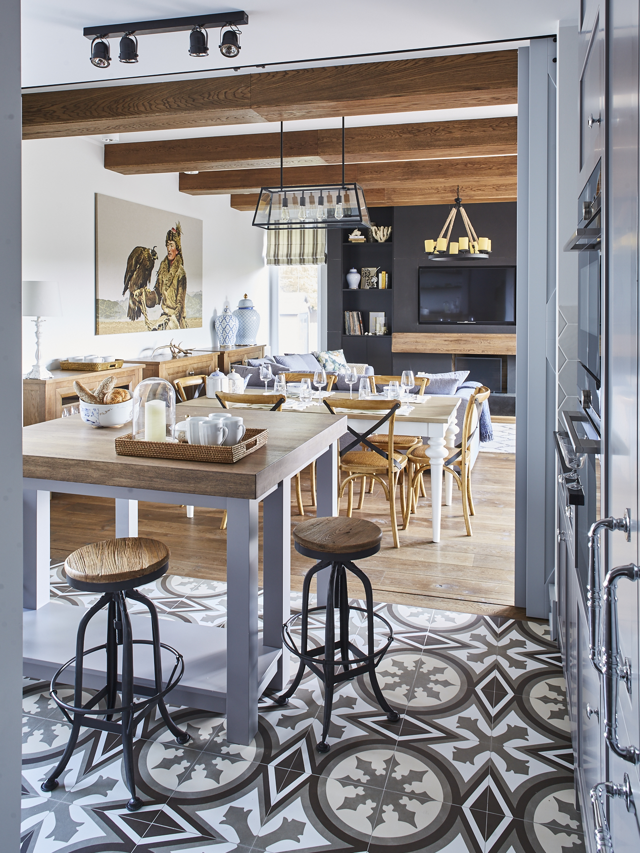 Eleganckie stolik kawowy biały sypialni BBHome