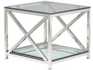 Stolik stalowy ze szklanym blatem BBHomeCruise 60x60x50 cm