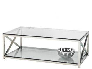 Stolik kawowy stalowy ze szklanym blatem BBHome Cruise 130x70x45 cm