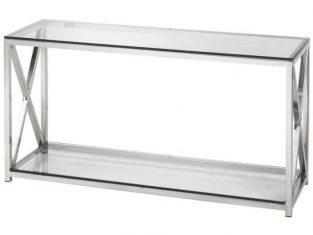 Konsola stalowa ze szklanym blatem BBHome Cruise 130x40x70 cm