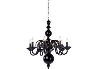 Żyrandol kryształowy na 8 żarówek Egmont Black Hyalit 62×76 cm