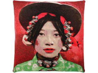 Poduszka dekoracyjna żakardowa FS Home Collections Tibetians Girl Kham Green 45x45cm