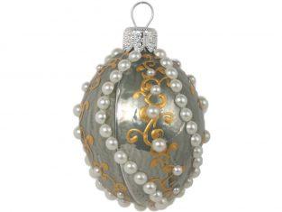 Świąteczna bombka z perełkami Amelita Egg Grey 4×6 cm