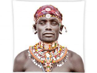 Poduszka żakardowa FS Home Collections Samburu Man White 45x45cm