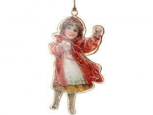 Ozdoba świąteczna metalowa Vintage Girl 9×16 cm