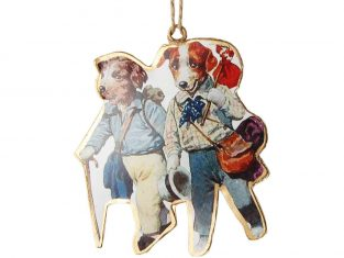 Ozdoba świąteczna metalowa BBHome Dogs Hiking 11×13 cm