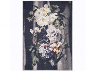 Pled dekoracyjny z wełny merynosów Designers Guild Delft Flower Noir 130×180 cm