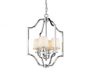 Lampa wisząca z białymi abażurami New York Cosmo Silver 46×67 cm Cosmo Light