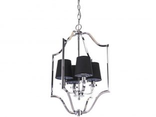 Lampa wisząca z czarnymi abażurami New York Cosmo Silver 46×67 cm Cosmo Light