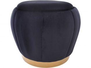 Puf Rosebud Velvet Black 45x45cm