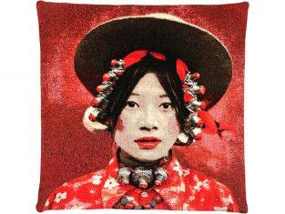 Poduszka dekoracyjna żakardowa FS Home Collections Tibetians Kham Red 45×45 cm
