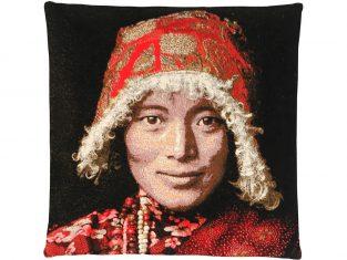 Poduszka dekoracyjna żakardowa FS Home Collections Tibetians Stupa Red 45×45 cm