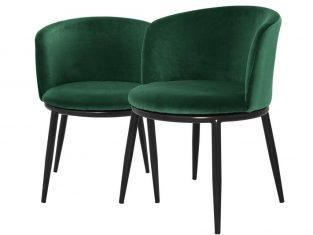 Zestaw 2 zielonych krzeseł Eichholtz Filmore Emerald 57x57x47,5 cm