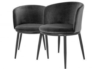 Zestaw 2 czarnych krzeseł Eichholtz Filmore Black Setx2 57x57x47,5 cm