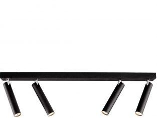 Lampa sufitowa czarna poczwórna Roll 17×60 cm