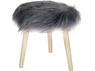 Stołek z futrzanym siedziskiem Fur Grey 36×45 cm