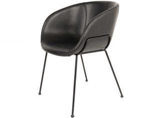 Krzesło skórzane czarne Feston 55×56,5x77cm Zuiver