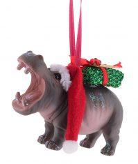 Ozdoba na choinkę BBHome Santa Hippo 9,5×3,5×6,5cm