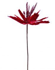 Gałązka Gwiazda Betlejemska BBHome Poinsetia Glitter Red 35cm