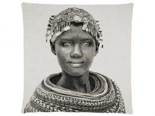 Poduszka dekoracyjna żakardowa FS Home Collections Samburu Girl Black&White 45x45cm