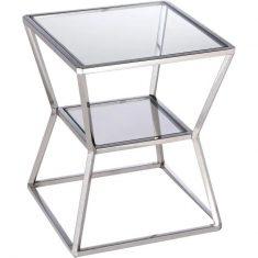 Stolik boczny szklany Belmont Silver 40x40x49cm