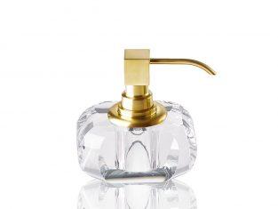 Dozownik na mydło przezroczysty pozłacany Decor Walther Kristall Clear/Gold 13x9x12cm