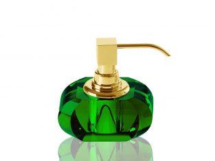 Dozownik na mydło Kristall Green/Gold Decor Walther 13x9x12cm