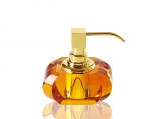 Dozownik na mydło bursztynowy pozłacany Decor Walther Kristall Amber/Gold 13x9x12cm