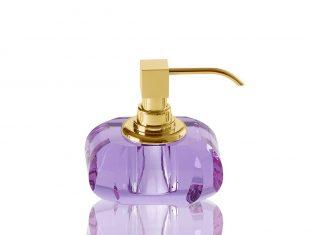 Dozownik na mydło fioletowy Kristall Violet/Gold Decor Walther 13x9x12cm
