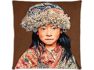 Poduszka dekoracyjna żakardowa FS Home Collections Tibetians Girl Brown 45x45cm