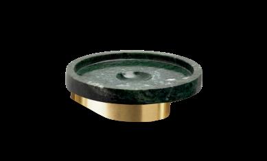 Okrągła mydelniczka marmurowa ścienna złoty mat Decor Walther Century Wall Gold Matt Marble Green 11x4cm