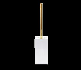 Szczotka do WC porcelanowa, biała/złota Decor Walther Divino Sq. White Gold 9x9x44m