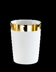 Kubek łazienkowy porcelanowy biały/złoty Decor Walther Divino Rnd White Gold 8,5x10cm
