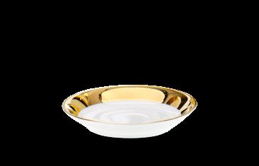 Mydelniczka porcelanowa biały/złoty Decor Walther Divino Rnd White Gold 9×1,5cm
