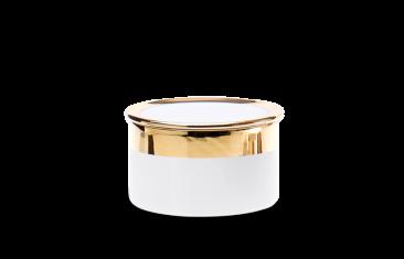 Pojemnik kosmetyczny porcelanowy, biały/złoty Decor Walther Divino Rnd White Gold M. 10×6,5cm