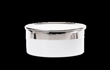 Pojemnik kosmetyczny porcelanowy, biały/chrom Decor Walther Divino Rnd White Chrome L.14,5×5,5cm