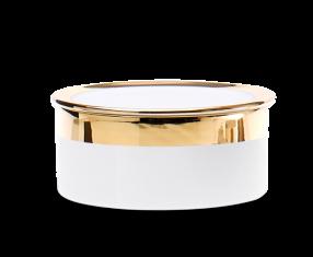 Pojemnik kosmetyczny porcelanowy, biały/złoty Decor Walther Divino Rnd White Gold L.14,5×5,5cm