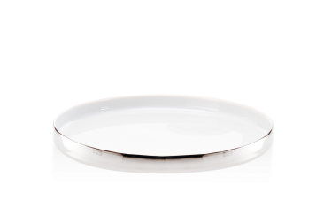 Taca łazienkowa porcelanowa, biały/chrom Decor Walther Divino Rnd White Chrome 20x2cm