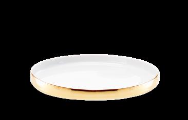 Taca łazienkowa porcelanowa biały/ złoty Divino Rnd White Gold 20x2cm