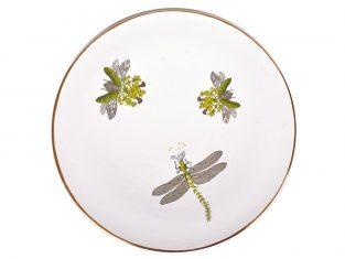 Talerz porcelanowy duży Majolika Nieborów White Beetles N. Bimer 32cm