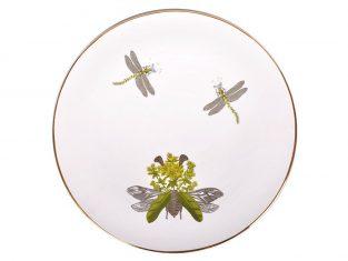 Talerz porcelanowy duży Majolika Nieborów White Dragonflies N. Bi 32cm