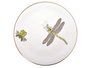 Talerz porcelanowy duży Majolika Nieborów White Dragonfly N. Bimer 32cm