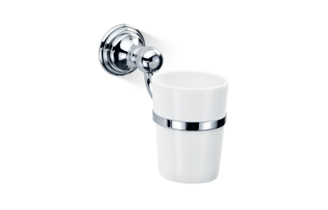 Kubek łazienkowy porcelanowy ścienny biały/chrom Decor Walther Classic Chrome 7,5x16x13,5cm