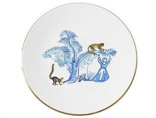 Talerz porcelanowy Majolika Nieborów Monkey 32×2,5cm
