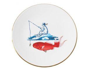 Talerz porcelanowy Majolika Nieborów Fisherman 32×2,5cm