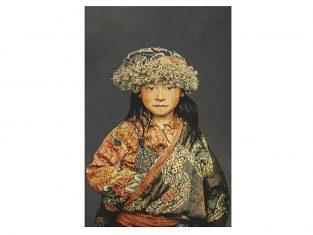 Pled dekoracyjny żakardowy FS Home Collections Tibetians Girl Graphite 140x220cm