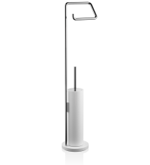 Szczotka do WC z uchwytem na papier White Chrome Stone Decor Walther 15x14x75,5cm BBHOME